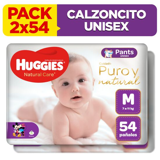 2 Packs Pants Huggies Natural Care Talla M 54 unid