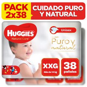 2 Packs Pañal Huggies Natural Care  Talla XXG 38 unid