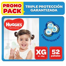 Pañales Huggies Triple Protección XG 52 unid