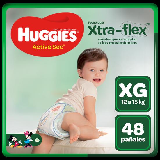 Pañal Huggies Active Sec Xtraflex Talla XG 48 unid