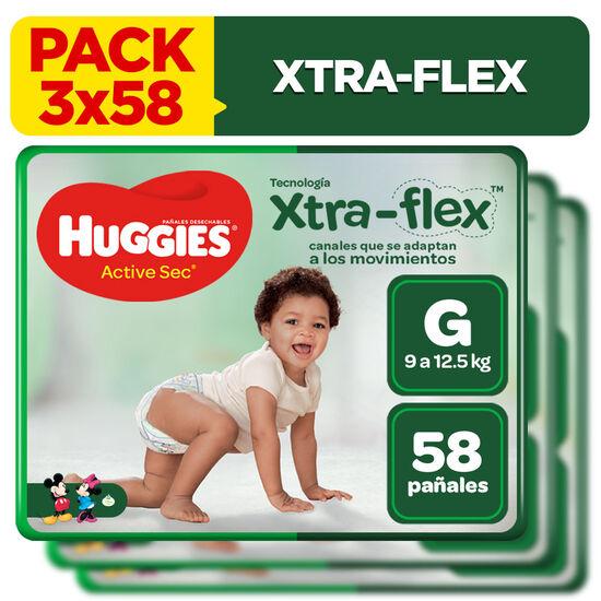 Combo 3 packs Pañales Huggies Active Sec Xtraflex