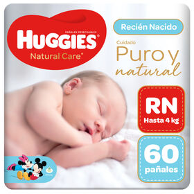 Pañal Huggies Natural Care RN 60 unid