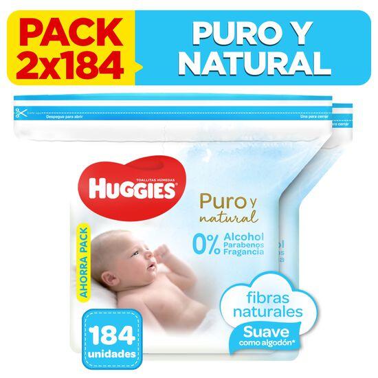 2 Packs Toallitas Húmedas Huggies Puro & Natural 184 unidades