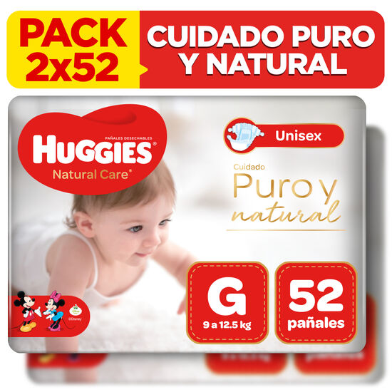 Combo 2 packs Pañales Huggies Natural Care