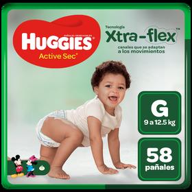 Pañal Huggies Active  Sec  Xtraflex  Talla G 58 Unid