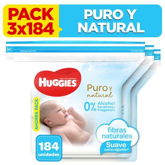 3 Packs Toallitas Húmedas Huggies Puro & Natural 184 unidades
