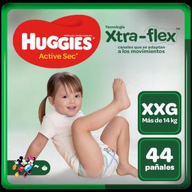 Pañal Huggies Active Sec Xtraflex Talla XXG 44 unid