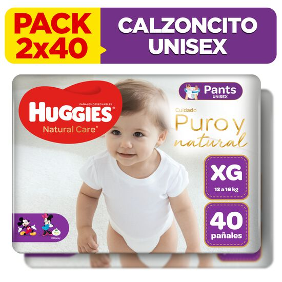2 Packs Pants Huggies Natural Care Talla XG 40 unid