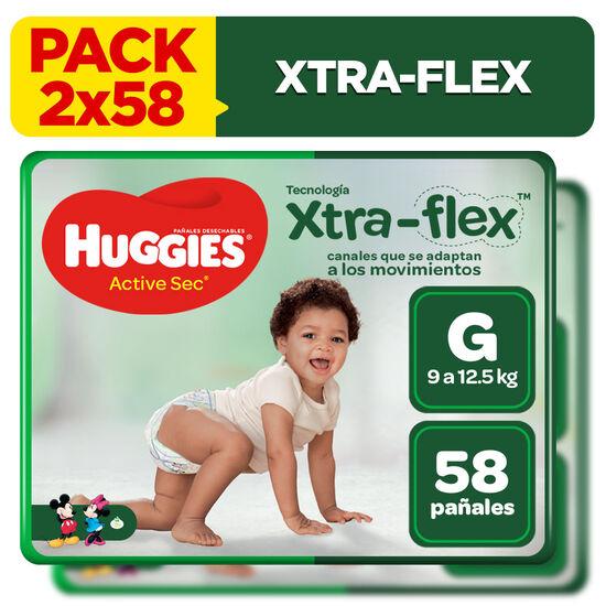 Combo 2 packs Pañales Huggies Active Sec Xtraflex