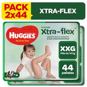 2 Packs Pañal Huggies Active Sec Xtraflex Talla XXG 44 unid
