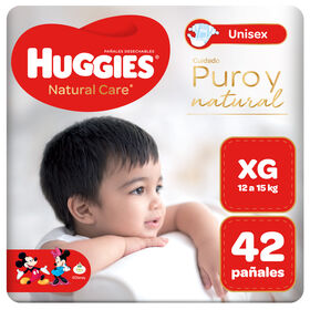 Pañal Huggies Natural Care Unisex Talla XG 42 unid