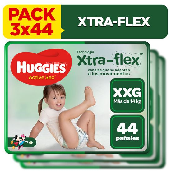 3 Packs Pañal Huggies Active Sec Xtraflex Talla XXG 44 unid