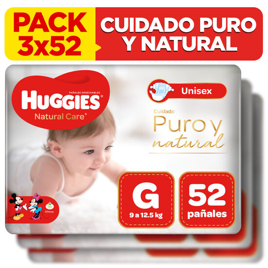 Combo 3 packs Pañales Huggies Natural Care
