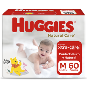 Pañal Huggies Natural Care Xtracare Talla M 60 unid