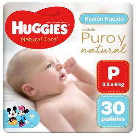 Pañal Huggies Natural Care Talla P 30 unid