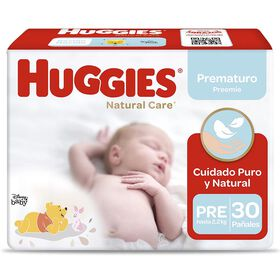 Pañal Huggies Natural Care Meg. Prematuro 30 unid