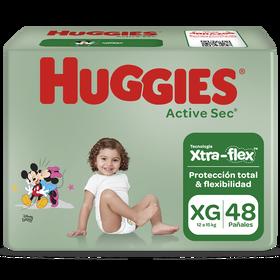 Pañal Huggies Active Sec Xpad Talla XG 48 unid