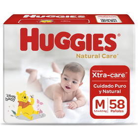Pañal Huggies Natural Care  Talla M 58 unid