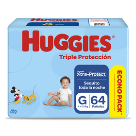 Pañales Huggies Triple Protección Xtraprotec Talla G 64 unid