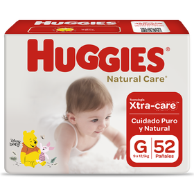 Pañal Huggies Natural Care Xtracare Talla G 52 unid