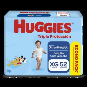 Pañales Huggies Triple Protección Xtraprotec Talla XG 52 unid