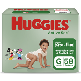 Pañal Huggies Active Sec Xpad Talla G 58 Unid