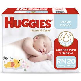 Pañal Huggies Natural Care Froz. Talla RN 20 unid